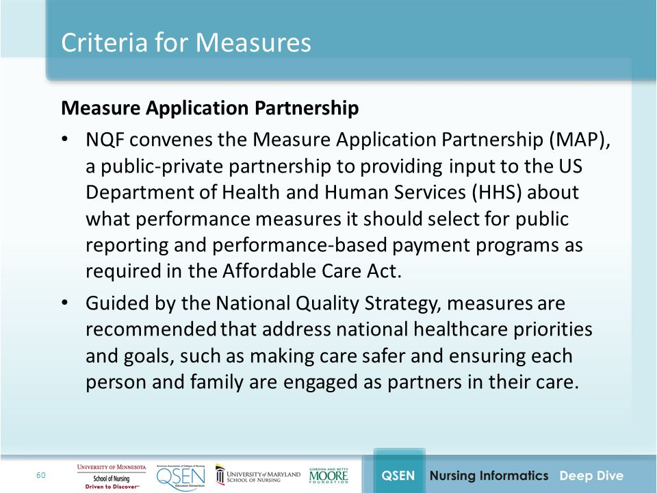 Criteria for Measures Measure Application Partnership