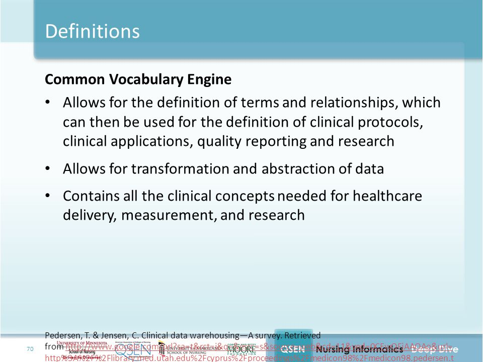 Definitions Common Vocabulary Engine