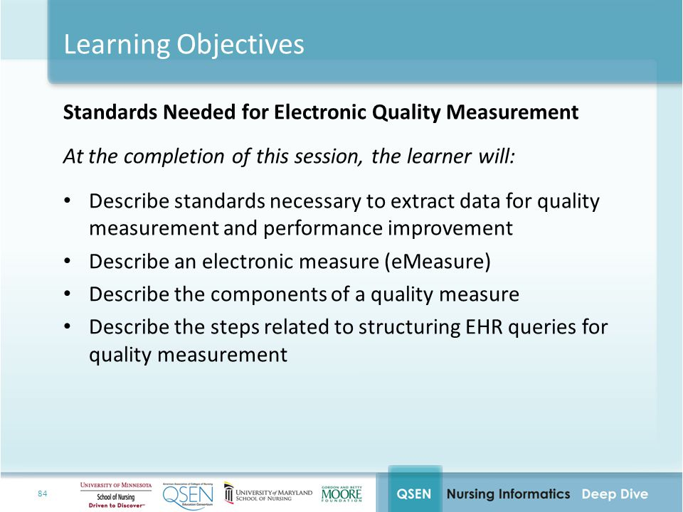 Learning Objectives Standards Needed for Electronic Quality Measurement. At the completion of this session, the learner will: