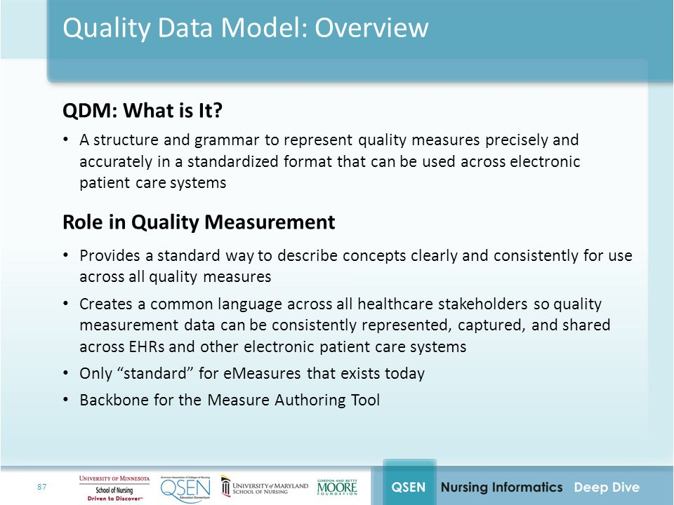 Quality Data Model: Overview