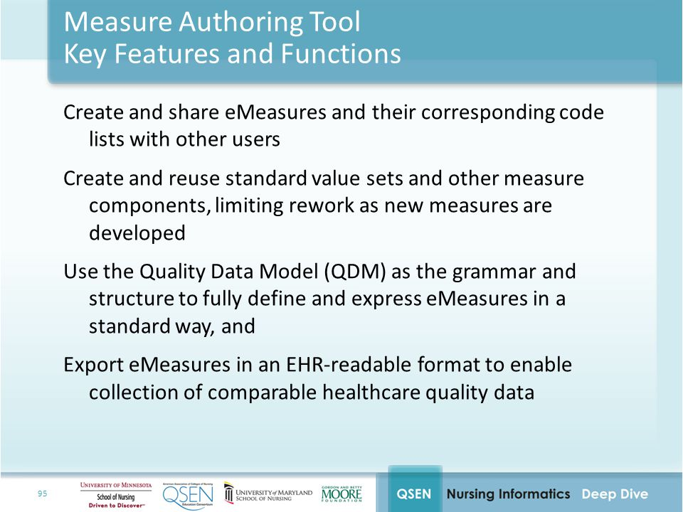 Measure Authoring Tool Key Features and Functions