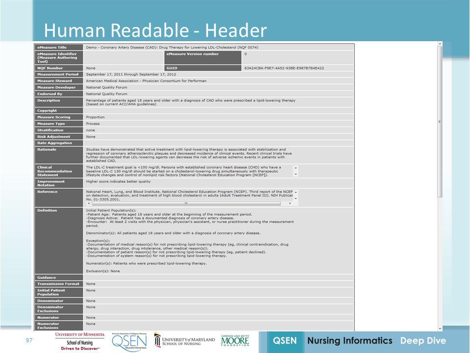 Human Readable - Header