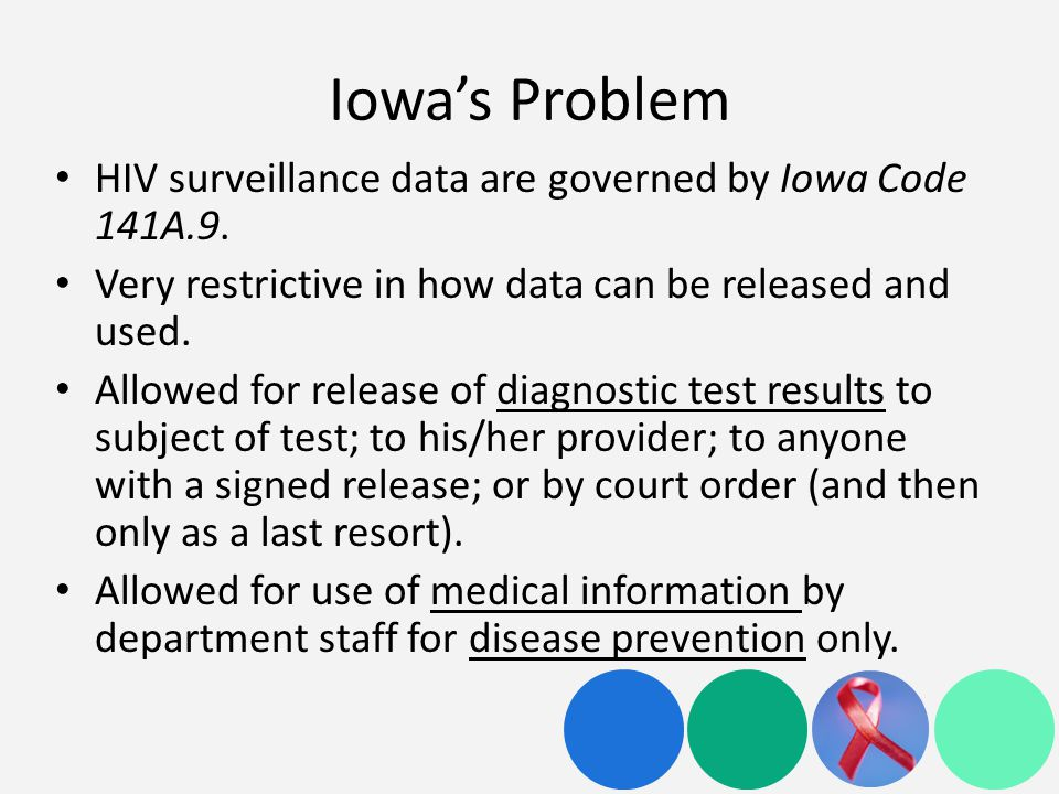 Iowa's Problem HIV surveillance data are governed by Iowa Code 141A.9.