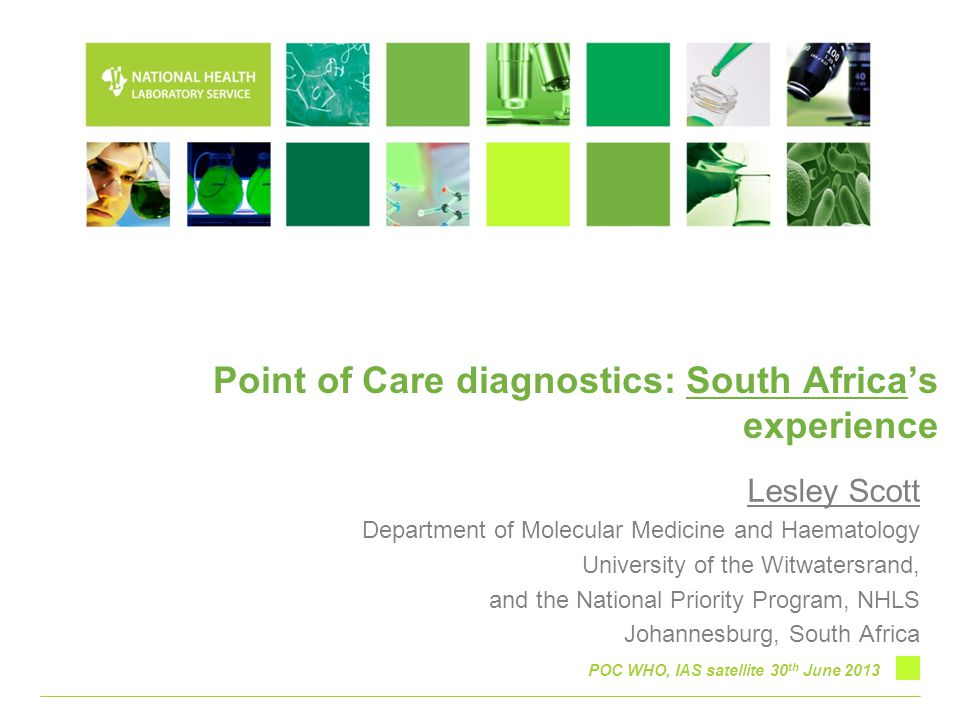 Point of Care diagnostics: South Africa's experience