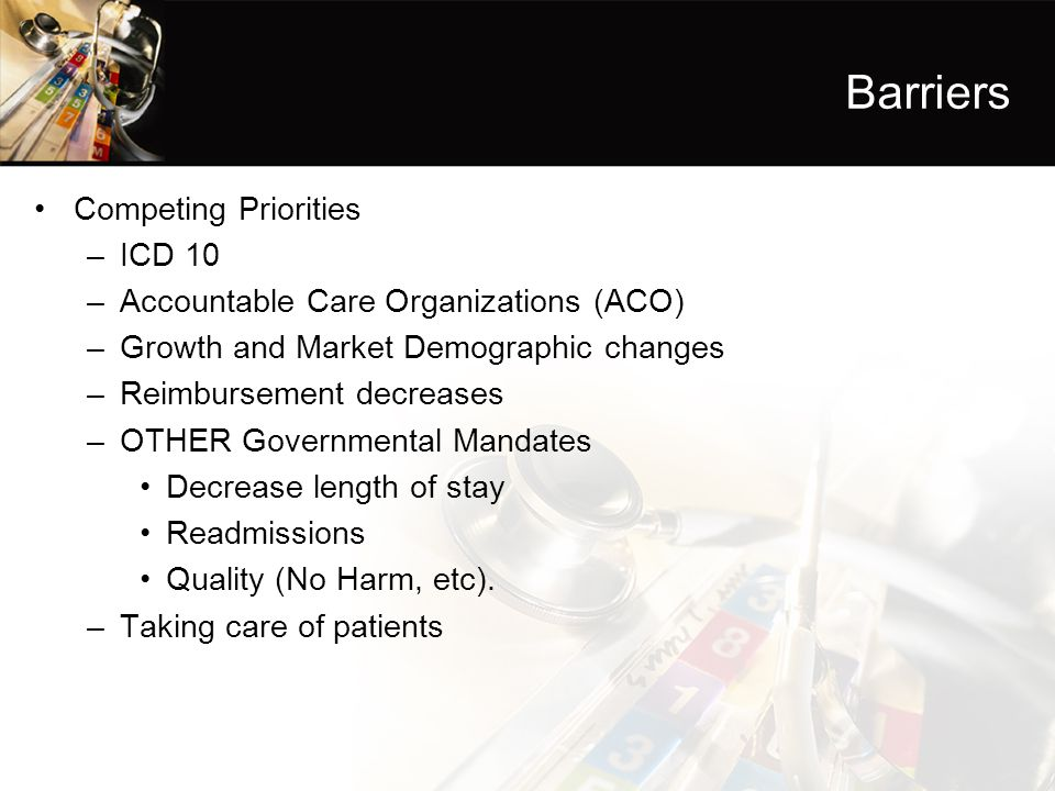 Barriers Competing Priorities ICD 10