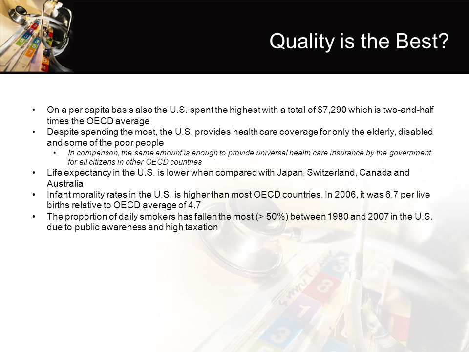 Quality is the Best On a per capita basis also the U.S. spent the highest with a total of $7,290 which is two-and-half times the OECD average.