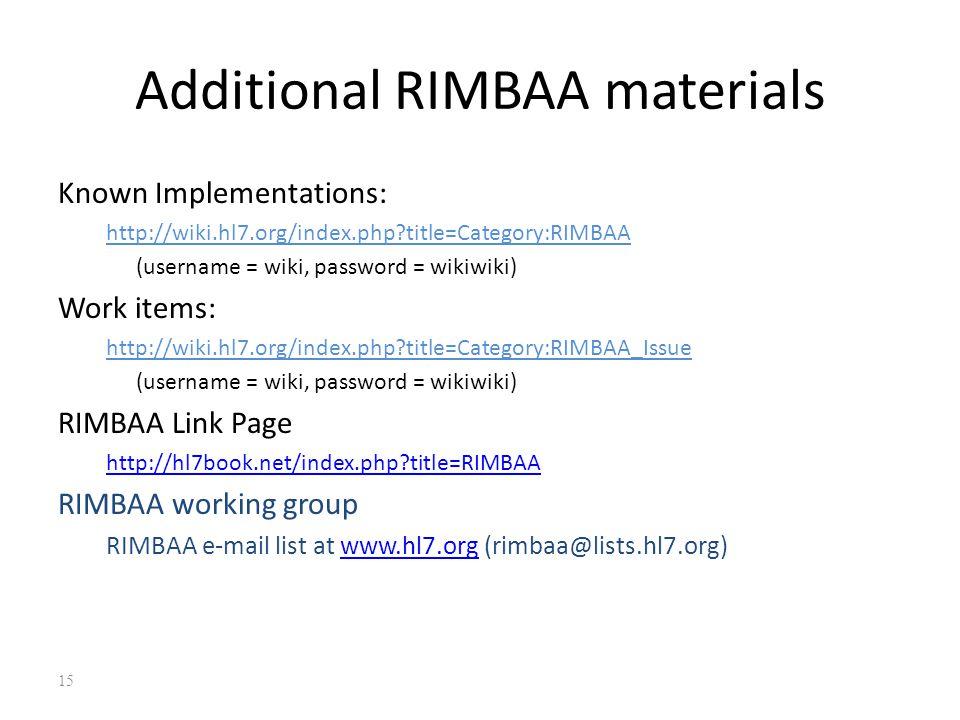 Additional RIMBAA materials