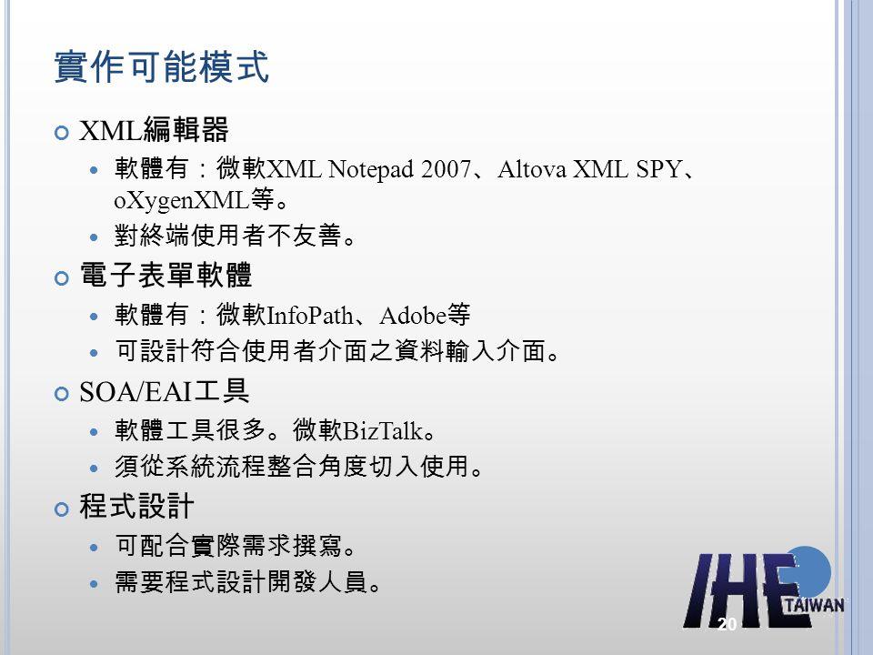 實作可能模式 XML編輯器 電子表單軟體 SOA/EAI工具 程式設計