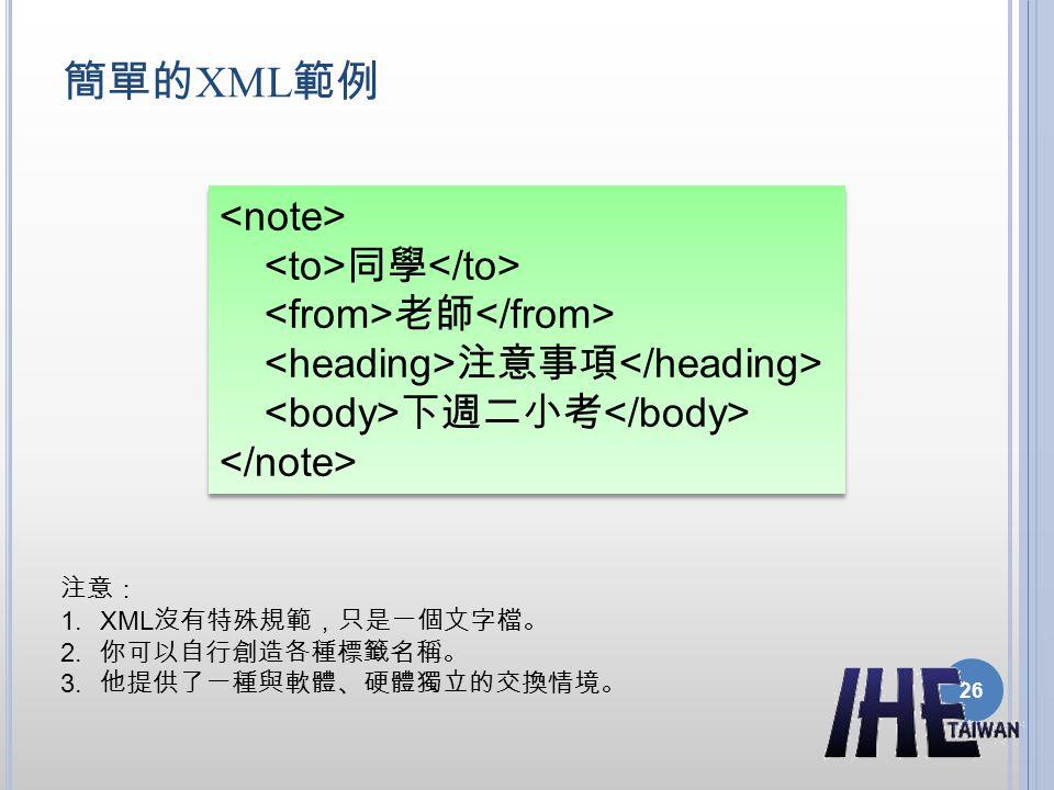 簡單的XML範例 <note> <to>同學</to> <from>老師</from> <heading>注意事項</heading> <body>下週二小考</body> </note>
