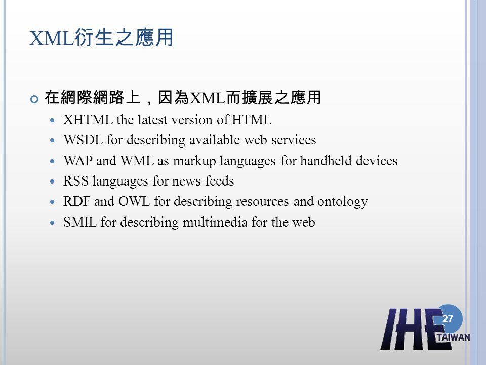 XML衍生之應用 在網際網路上,因為XML而擴展之應用 XHTML the latest version of HTML