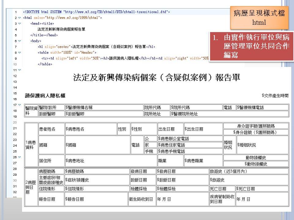 病歷呈現樣式檔html 由實作執行單位與病歷管理單位共同合作編寫