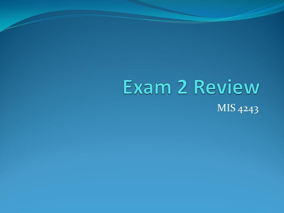 Exam 2 Review MIS 4243