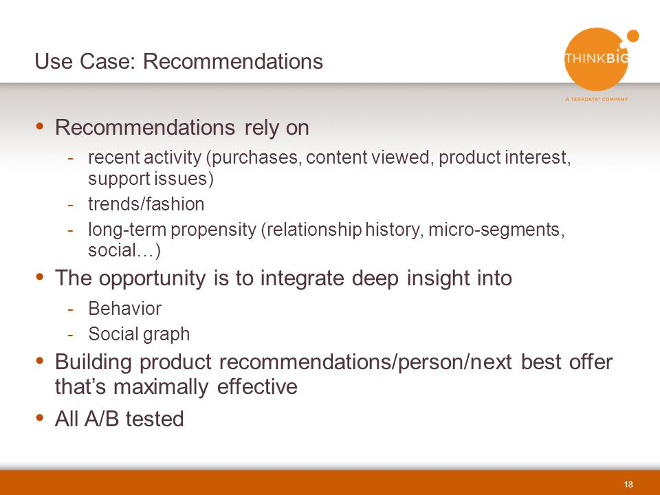 Use Case: Recommendations