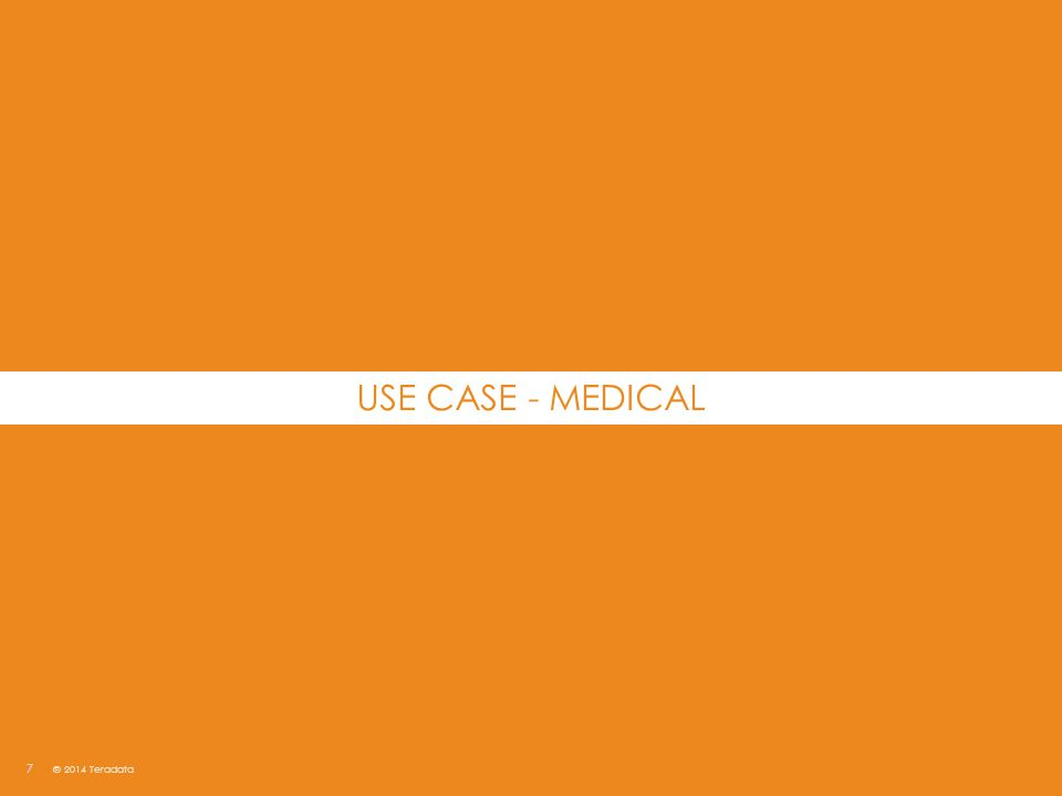 USE CASE - MEDICAL © 2014 Teradata