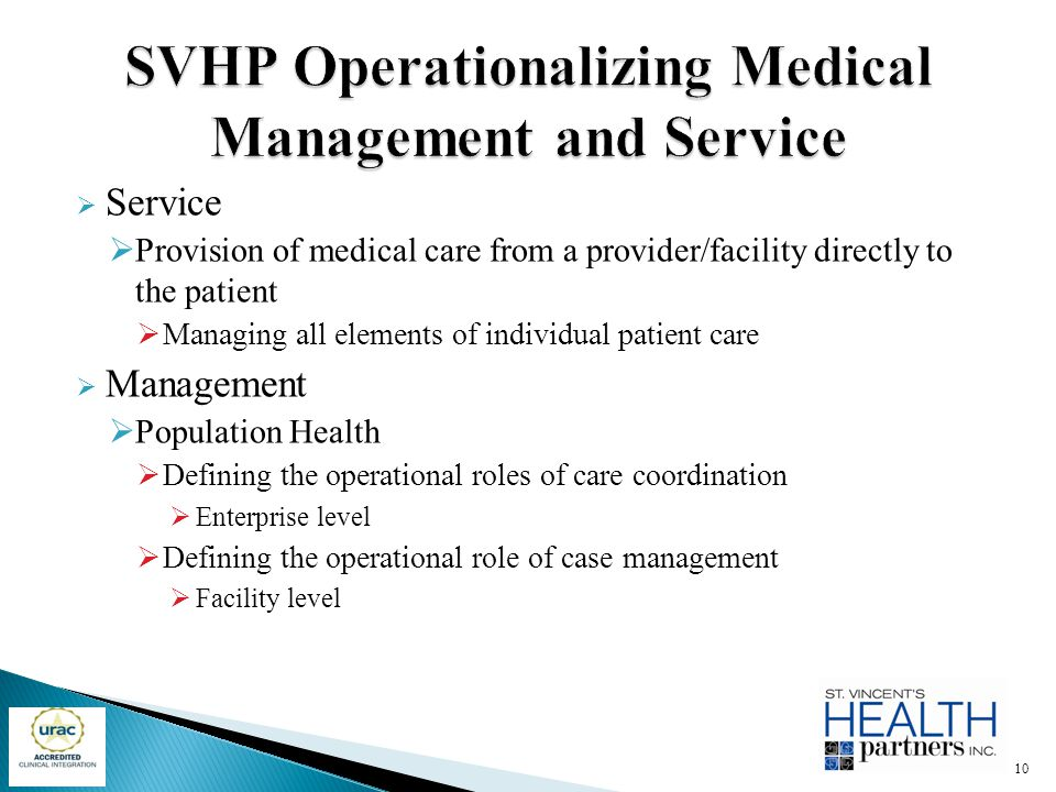 SVHP Operationalizing Medical Management and Service