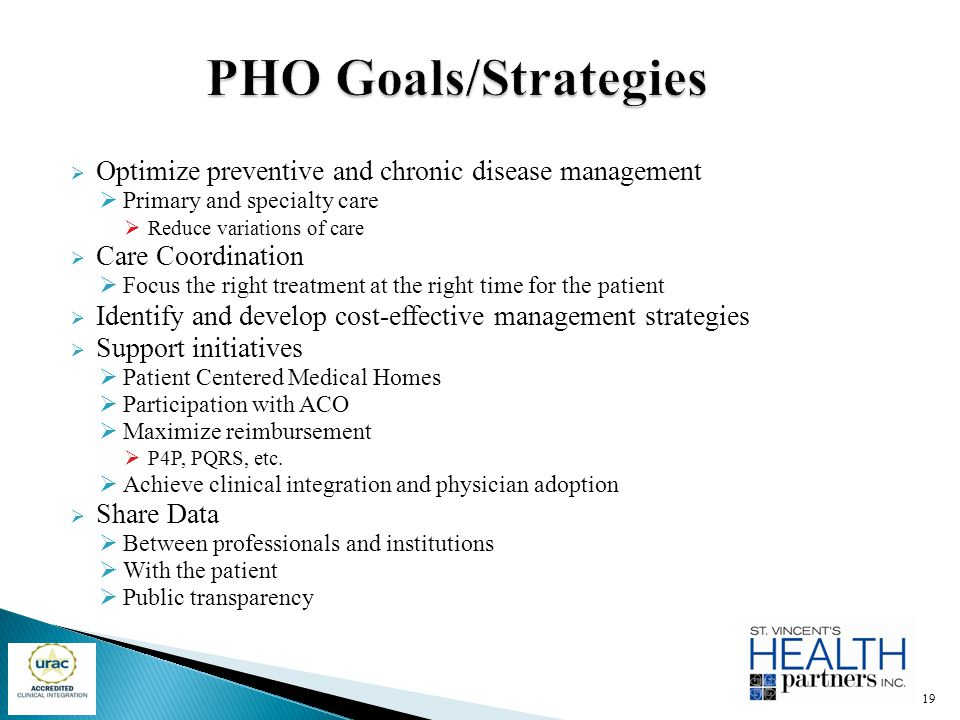PHO Goals/Strategies Optimize preventive and chronic disease management. Primary and specialty care.