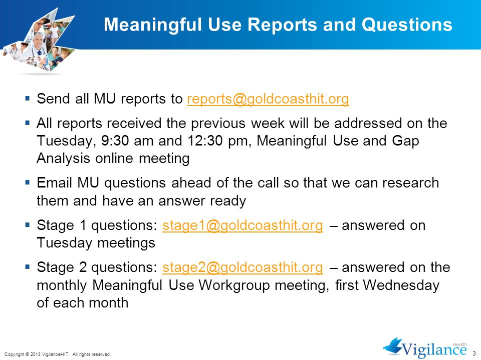 Meaningful Use Reports and Questions
