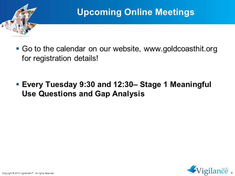 Upcoming Online Meetings