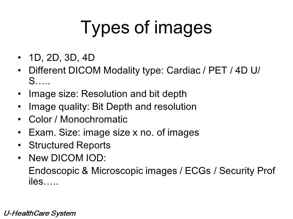 Types of images 1D, 2D, 3D, 4D. Different DICOM Modality type: Cardiac / PET / 4D U/S….. Image size: Resolution and bit depth.