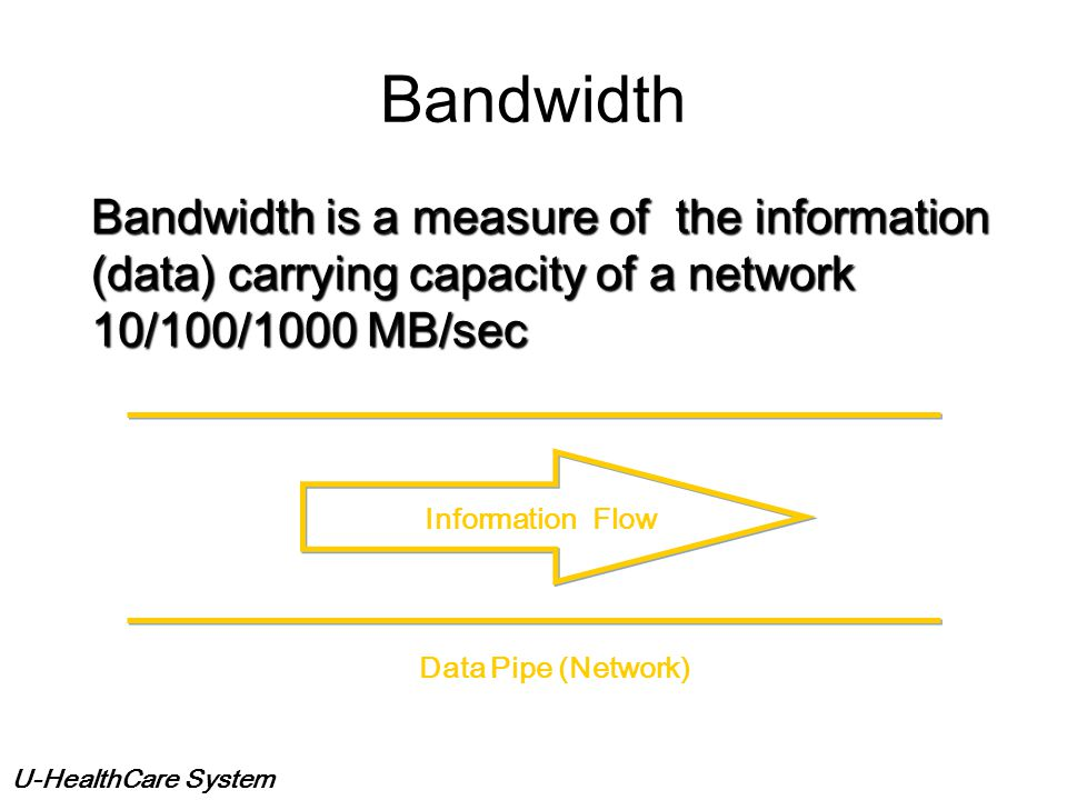 Bandwidth Bandwidth is a measure of the information (data) carrying capacity of a network. 10/100/1000 MB/sec.
