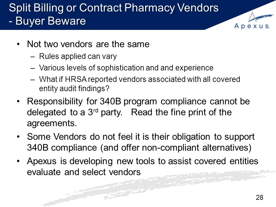 Split Billing or Contract Pharmacy Vendors - Buyer Beware