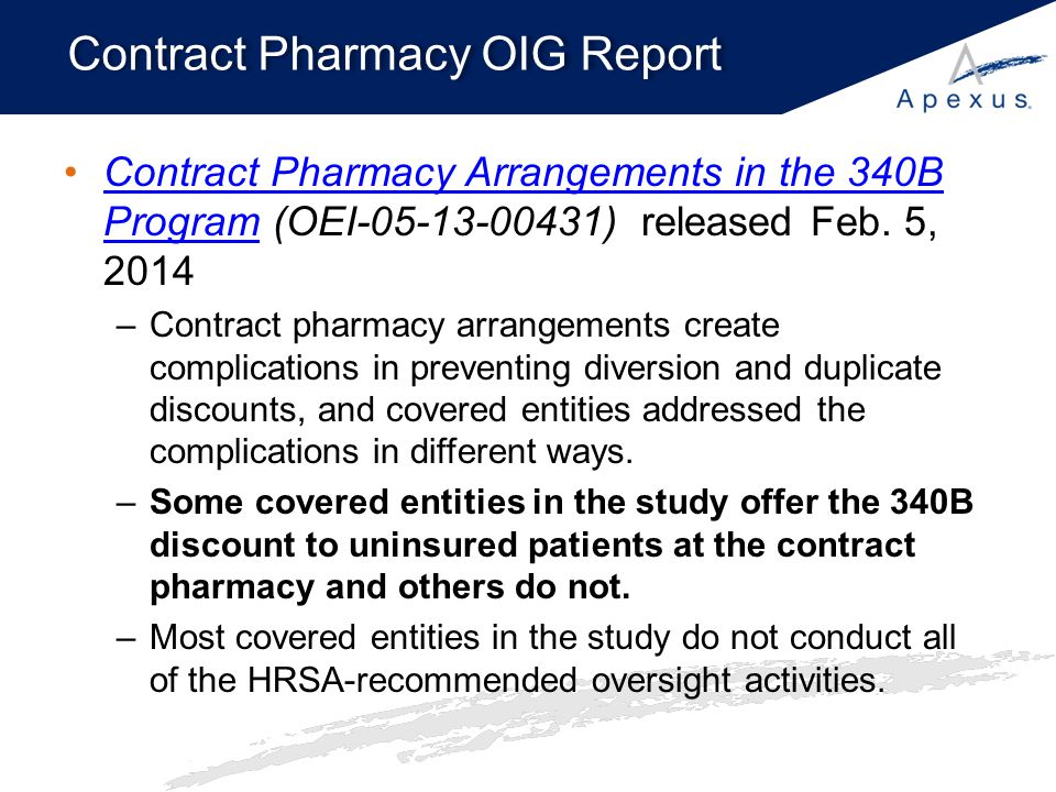 Contract Pharmacy OIG Report