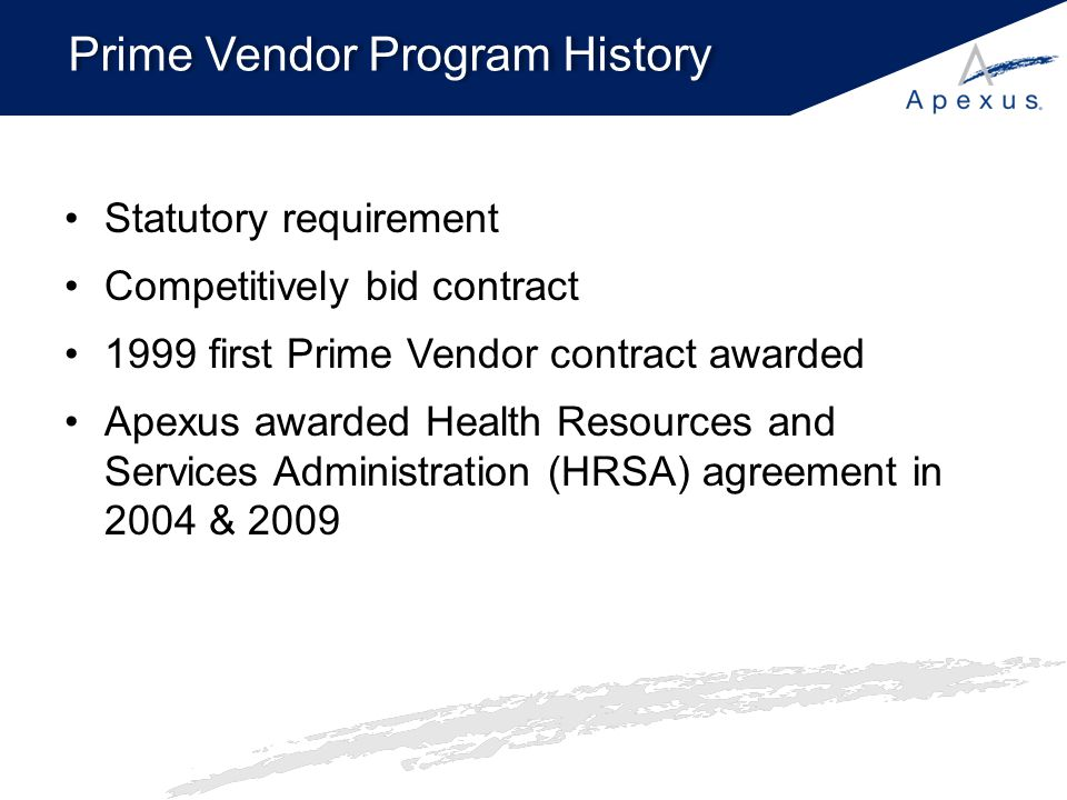 Prime Vendor Program History
