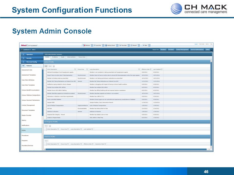 System Configuration Functions