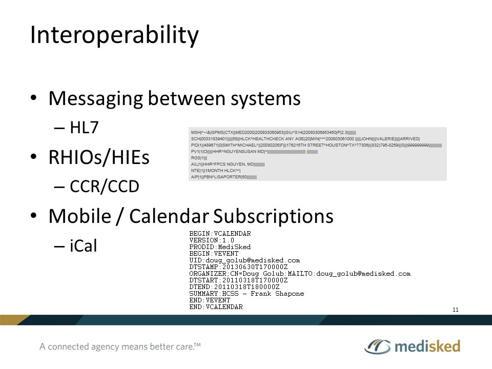 Interoperability Messaging between systems RHIOs/HIEs