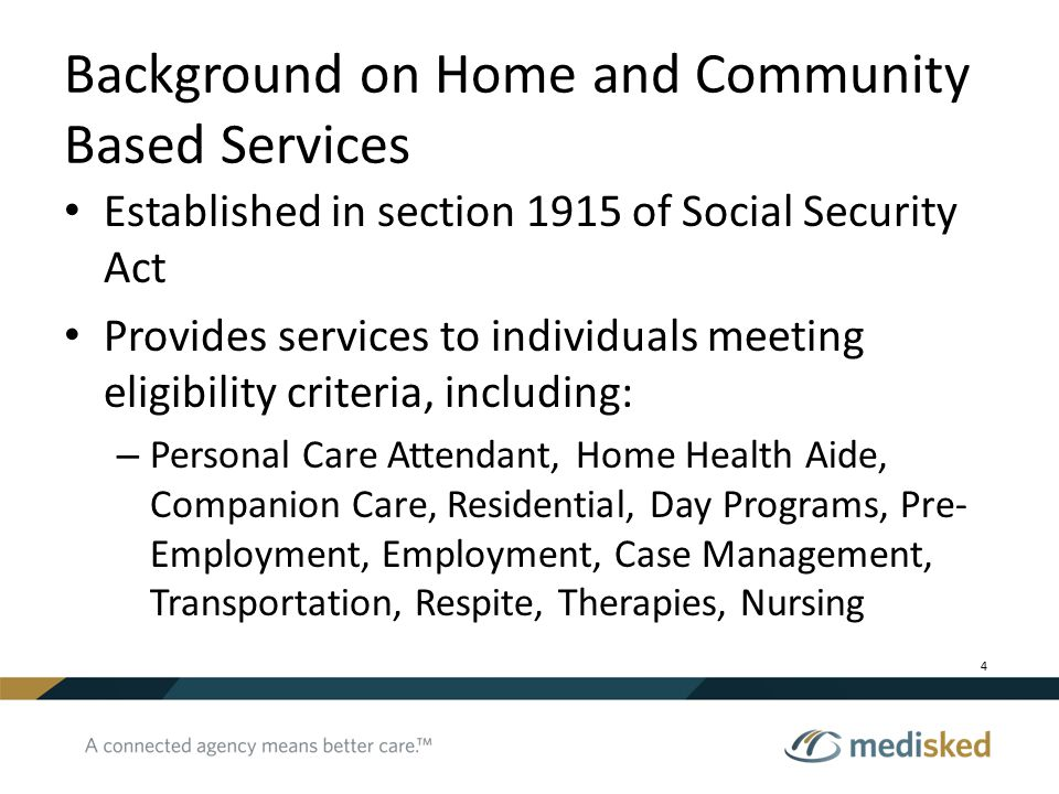 Background on Home and Community Based Services