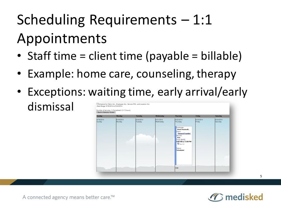 Scheduling Requirements – 1:1 Appointments