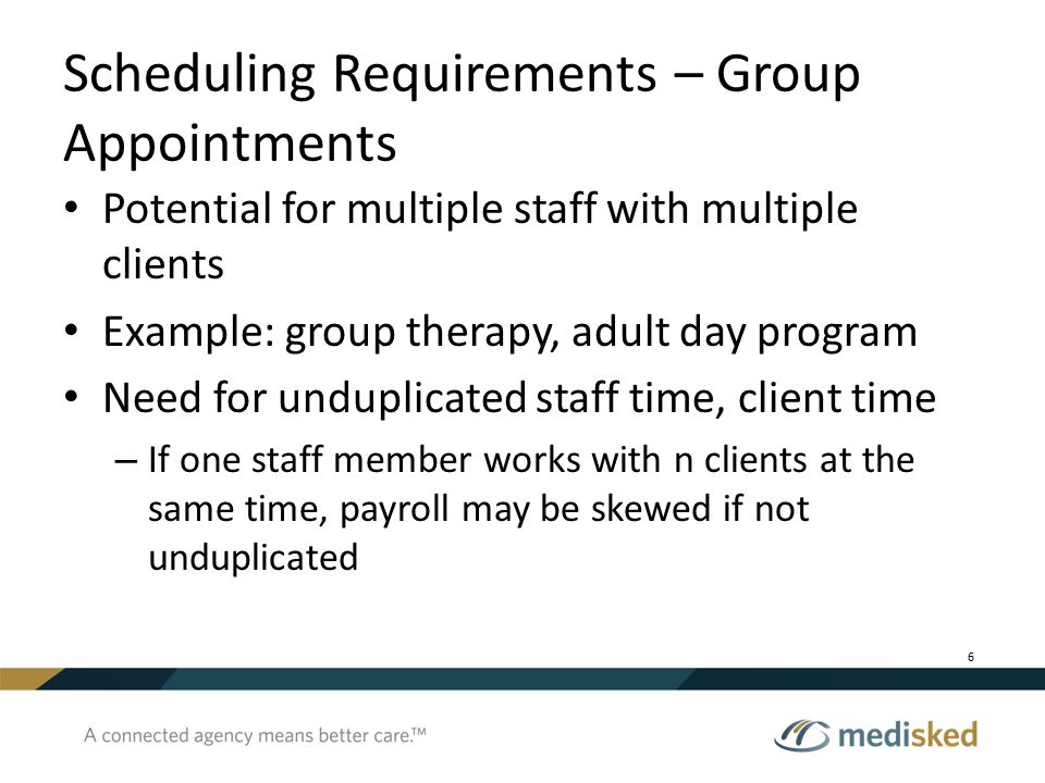 Scheduling Requirements – Group Appointments