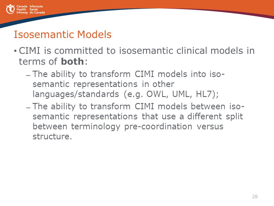 Isosemantic Models CIMI is committed to isosemantic clinical models in terms of both: