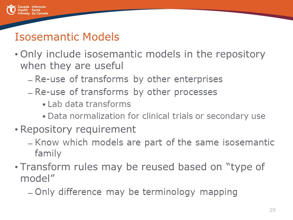 Isosemantic Models Only include isosemantic models in the repository when they are useful. Re-use of transforms by other enterprises.