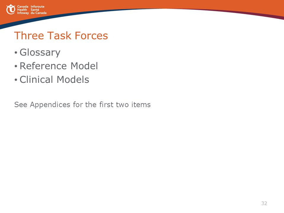 Three Task Forces Glossary Reference Model Clinical Models