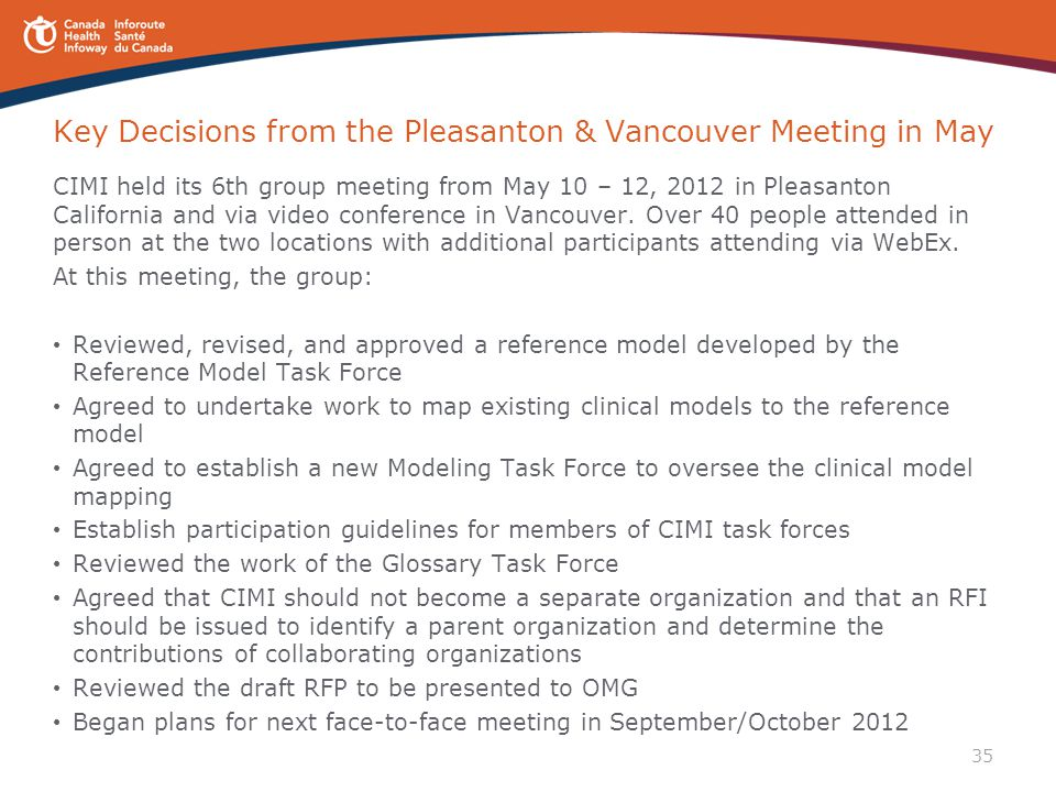 Key Decisions from the Pleasanton & Vancouver Meeting in May