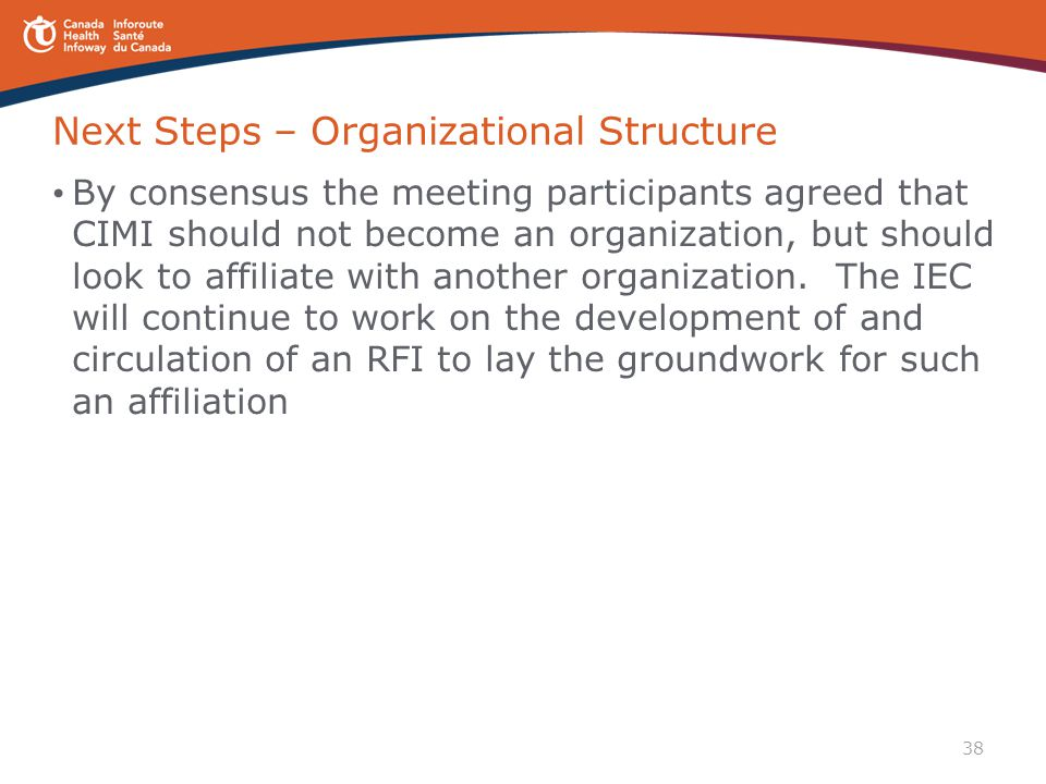 Next Steps – Organizational Structure
