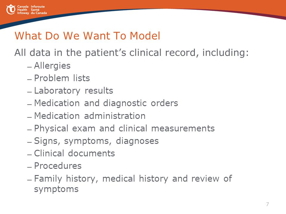 What Do We Want To Model All data in the patient's clinical record, including: Allergies. Problem lists.