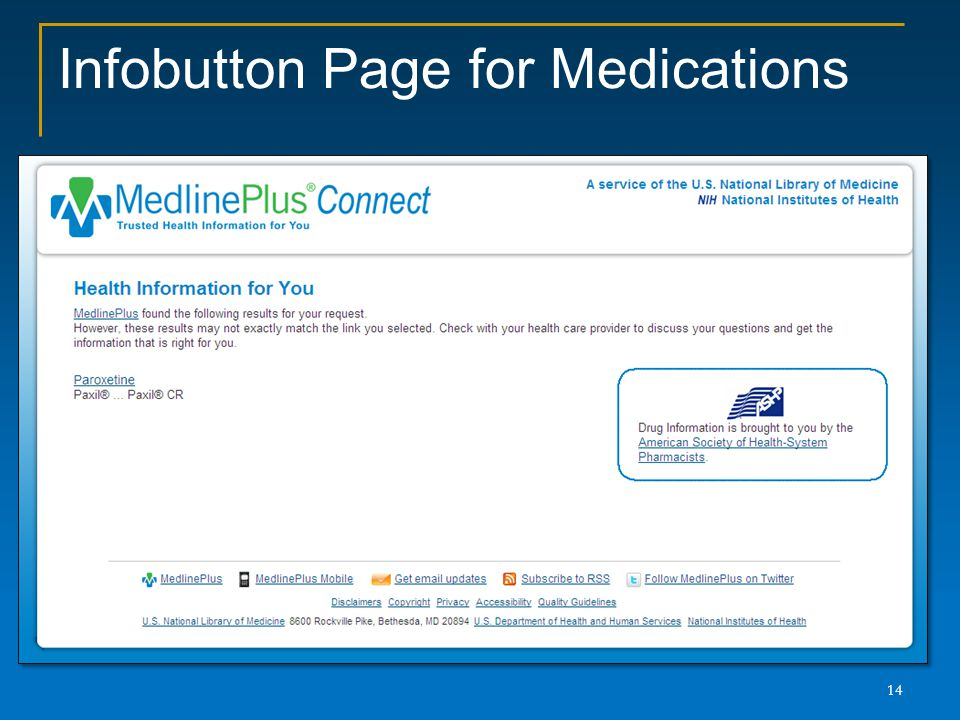 Infobutton Page for Medications