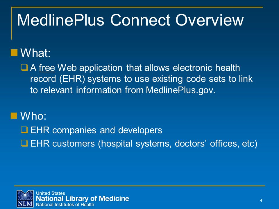 MedlinePlus Connect Overview