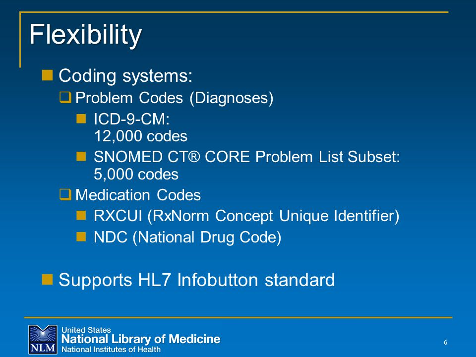 Flexibility Coding systems: Supports HL7 Infobutton standard