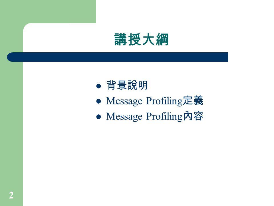 講授大綱 背景說明 Message Profiling定義 Message Profiling內容