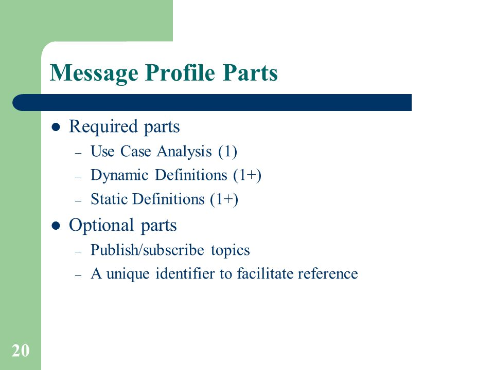 Message Profile Parts Required parts Optional parts