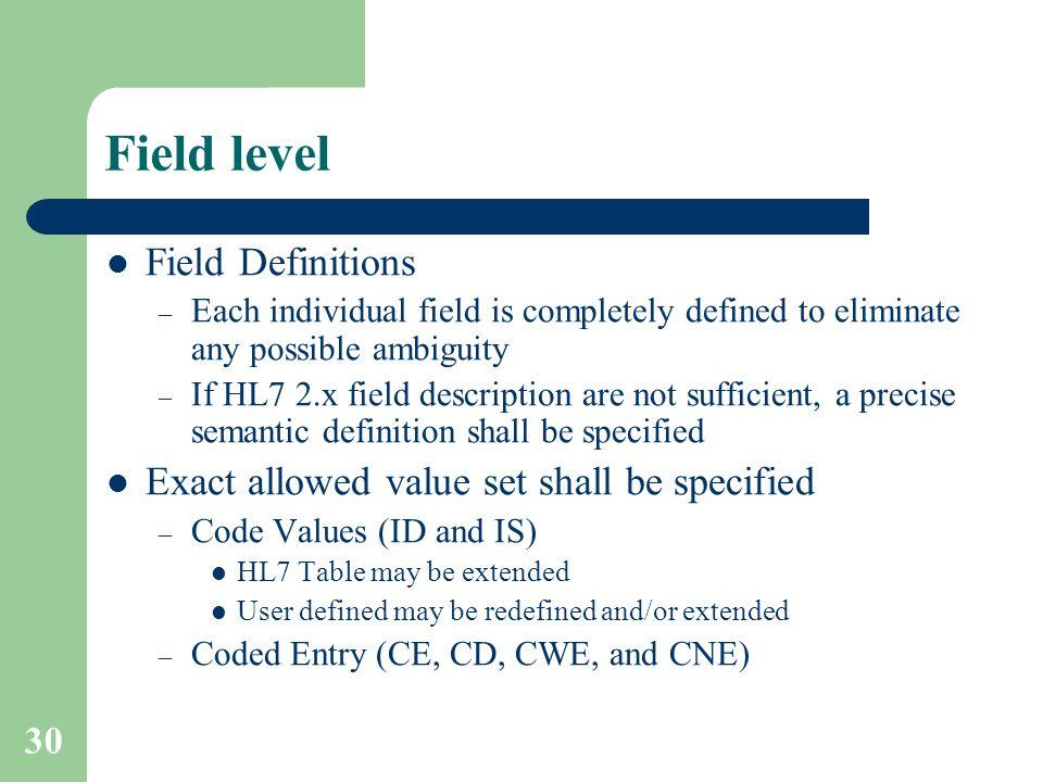 Field level Field Definitions