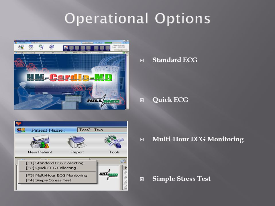 Operational Options Standard ECG Quick ECG Multi-Hour ECG Monitoring