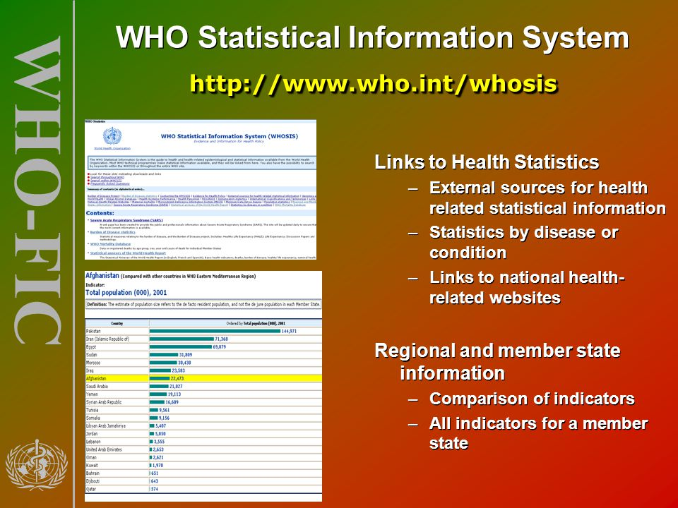 WHO Statistical Information System http://www.who.int/whosis