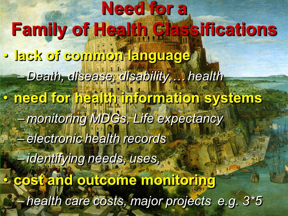 Need for a Family of Health Classifications