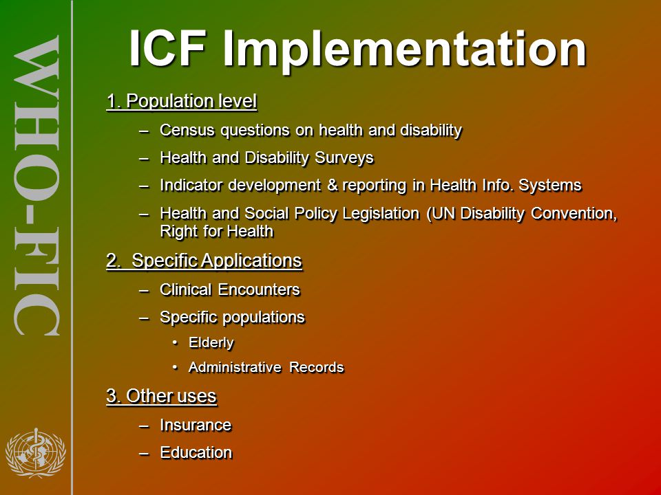 ICF Implementation 1. Population level 2. Specific Applications