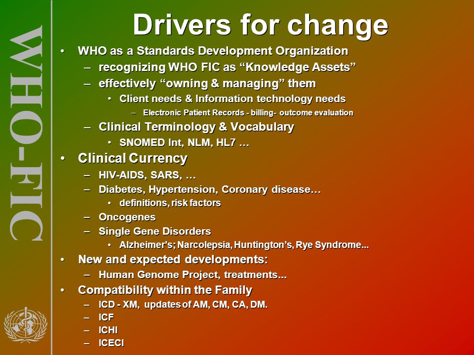 Drivers for change Clinical Currency