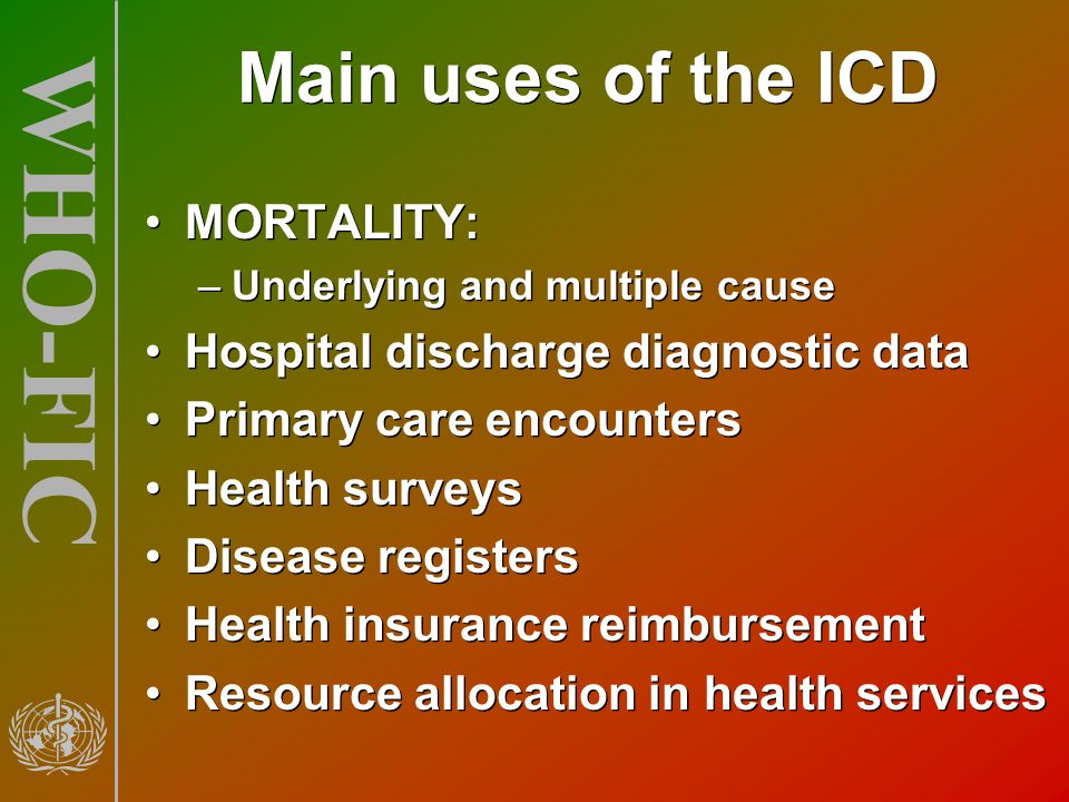 Main uses of the ICD MORTALITY: Hospital discharge diagnostic data